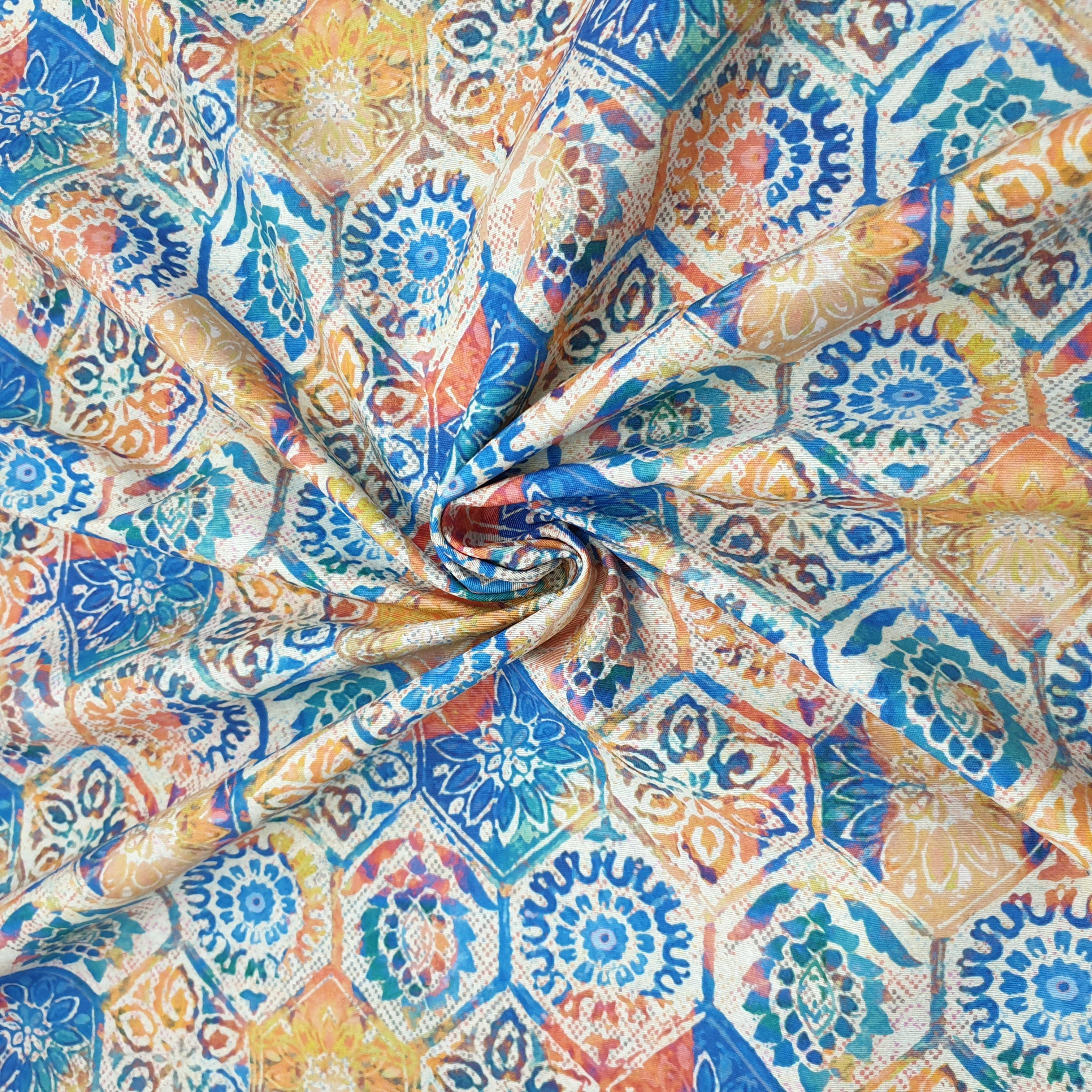 Loneta Mosaico Azul Naranja